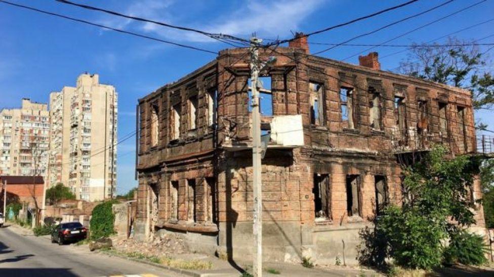 Ruína de edifício incendiado