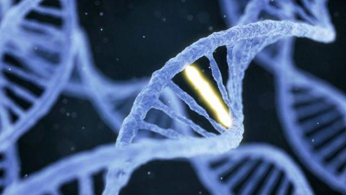 Molécula com estrutura espiral de DNA com uma conexção destacada contra um fundo escuro