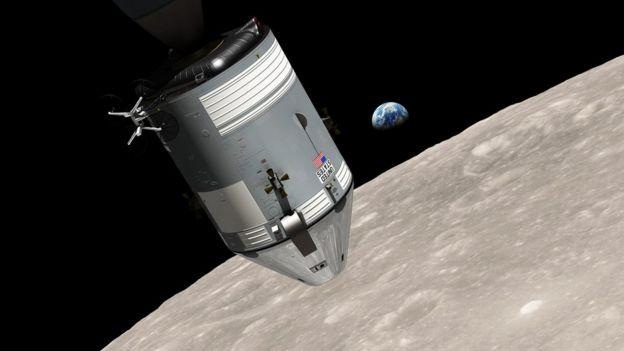Ilustración que muestra al módulo lunar del Apollo 8 sobre la superficie lunar con la Tierra azul al fondo