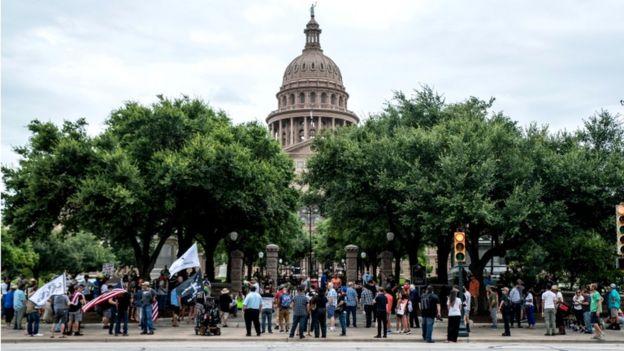Protest in Austin, the capital of Texas