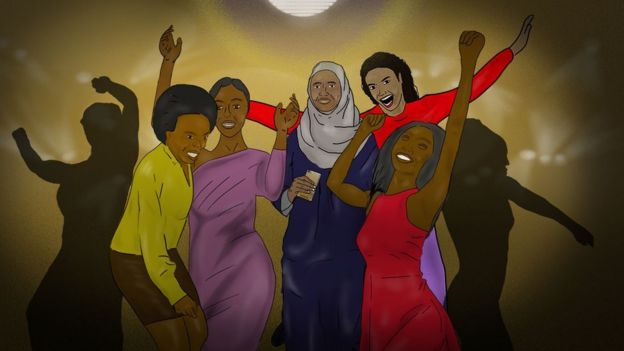 An illustration of women of all walks of life, including those in hijabs dancing on the dance floor