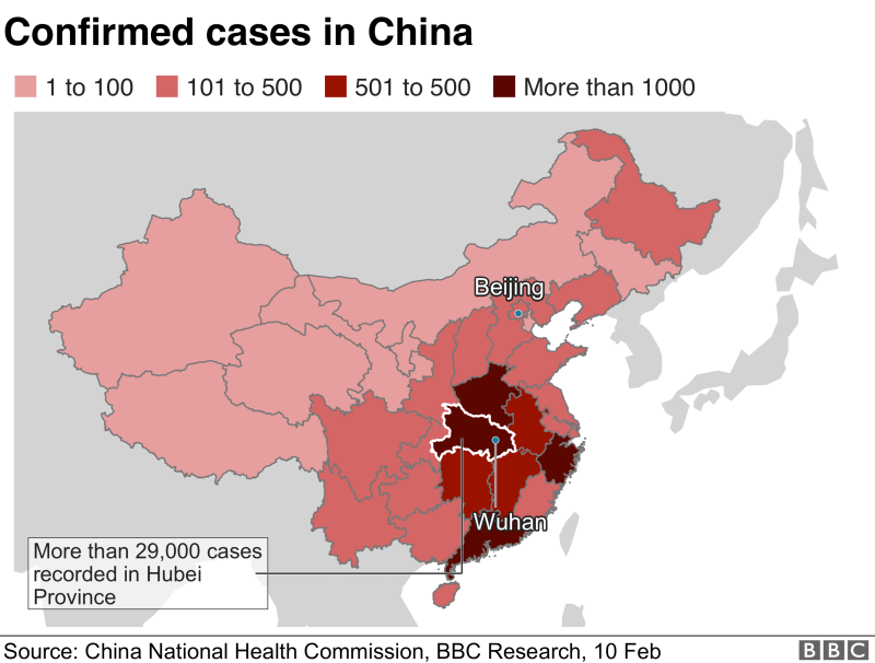 Map showing confirmed cases in China