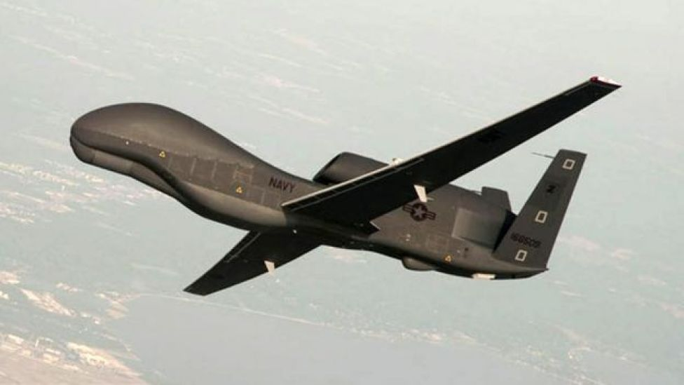 A handout photo made available by the US Navy provided by Northrop Grumman, a RQ-4 Global Hawk unmanned aerial vehicle conducts tests over Naval Air Station Patuxent River, Maryland, USA 25 June 2010