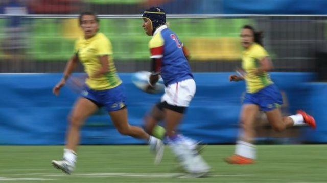 Nathalie Marchino en su partido de rugby 7 con Colombia