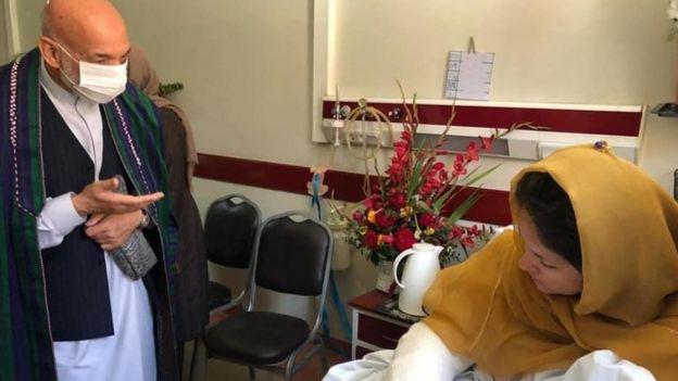 Afghan's ex president Hamid Karzai with Fawzia Koofi