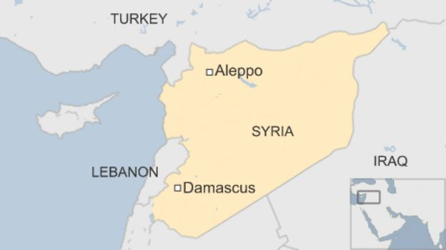 Map showing Aleppo in Syria