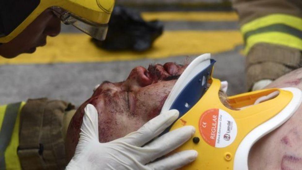 Injured man in Hong Kong, 6 October
