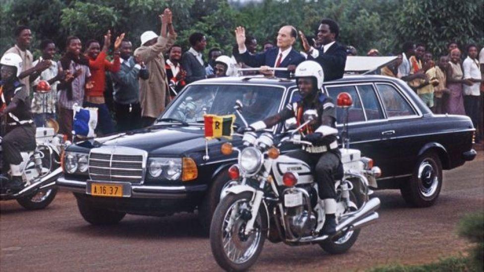 Mitterrand on visit to Rwanda, 1984
