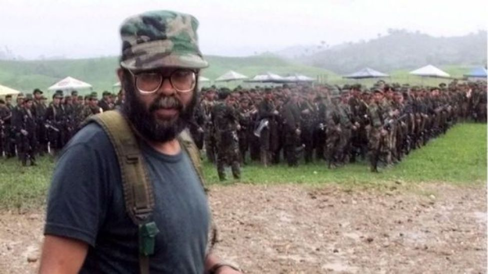 Alfonso Cano, a Revolutionary Armed Forces of Colombia (FARC) commander attends a practice ceremony for the political party opening outside of San Vicente del Caguan in the FARC controlled zone of Colombia on Friday, April 28, 2000