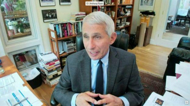 Imagen de Anthony Fauci en videoconferencia