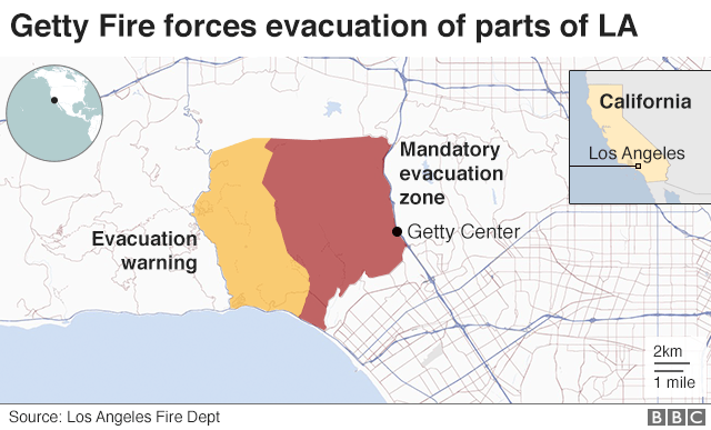 Map showing evacuation zones due to Getty Fire