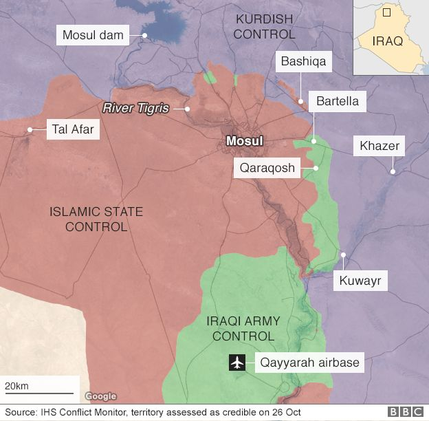Map showing territory held by Iraqi army, Kurdish forces and IS around Mosul