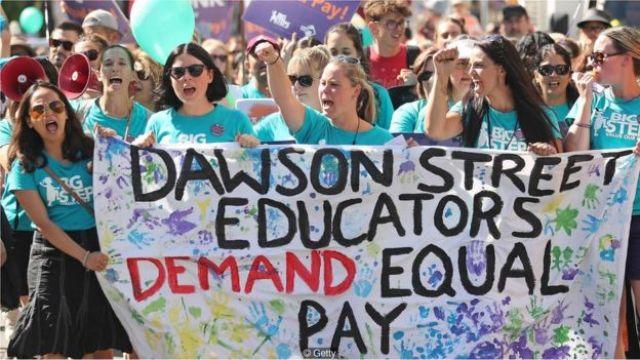 Protesto de mulheres por igualdade salarial