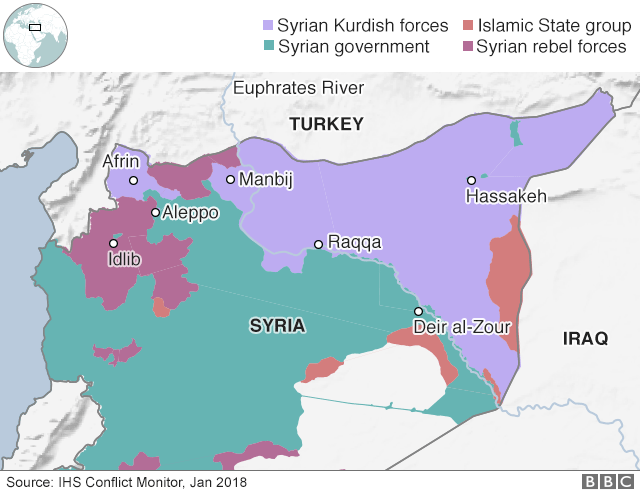 Map showing control of Syria (8 January 2018)