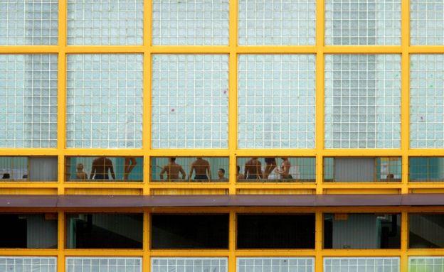 Prisoners inside Changi Prison on 23 November, 2005