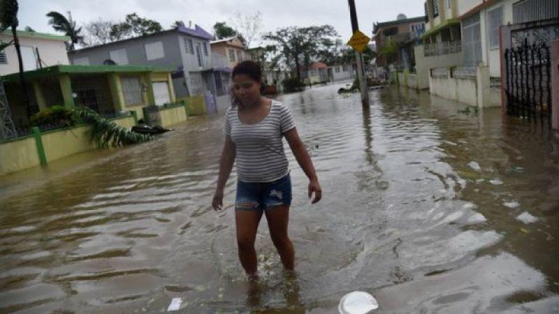 Calles inundadas en Puerto Rico.