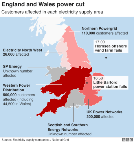 Graphic showing areas of England and Wales affected by power cut