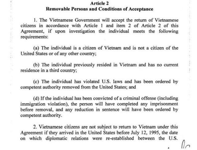 Điều 2 trong Biên bản Ghi nhớ giữa hai nước năm 2008