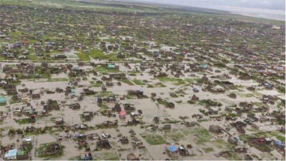 Une vue aérienne de Beira, après le passage d'Idai