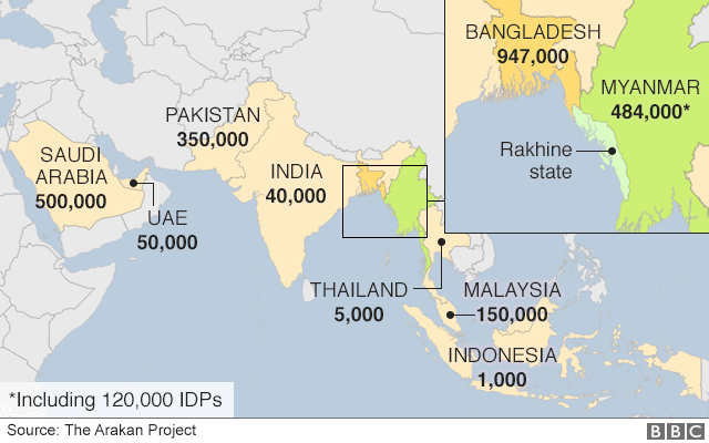 Map showing distribution of Rohingya in Asia