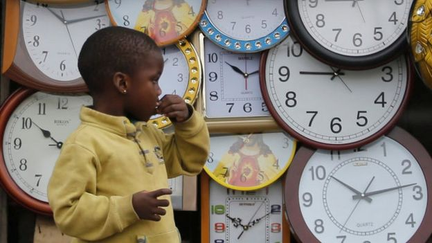 Clocks on sale at a local market in Agege district in Lagos August 16, 2016.