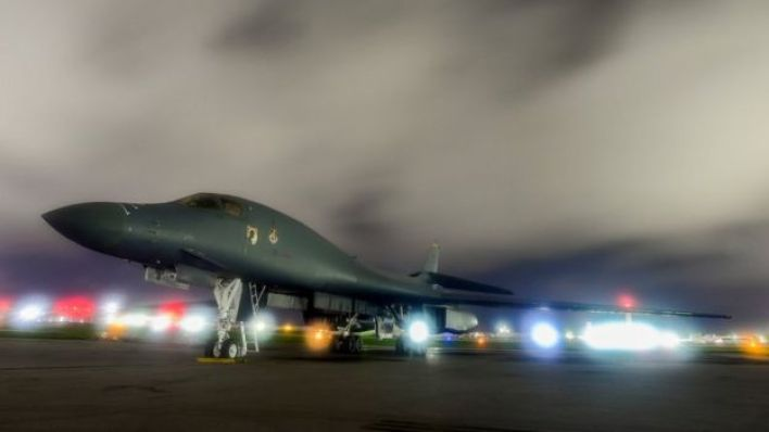 A US Air Force B-1B Lancer bomber sits on the runway at Andersen Air Force Base, Guam July 18, 2017