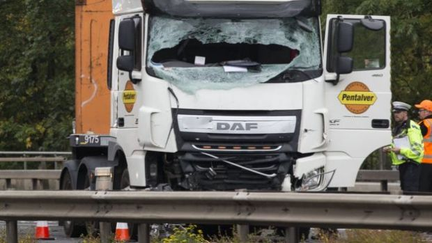 Lorry crash site