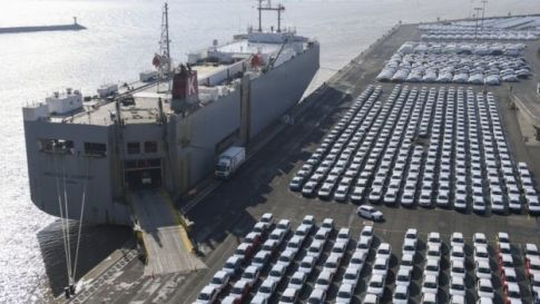 Volkswagen cars for export wait for shipping at the port in Emden, Germany