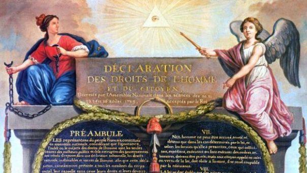 Detalle de la ilustración de la Declaración de derechos del hombre y el ciudadano por Jean-Jacques-François Le Barbier