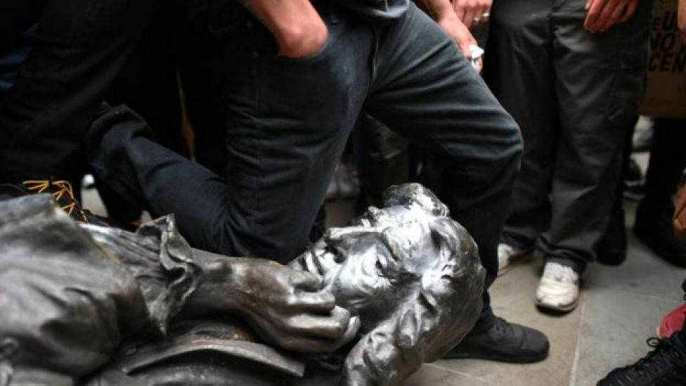 Protesters pull down a statue of Edward Colston during a Black Lives Matter protest