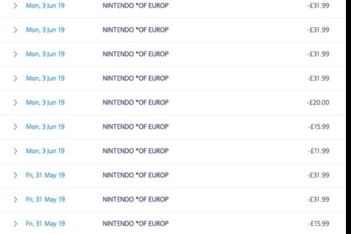 Nintendo bank details