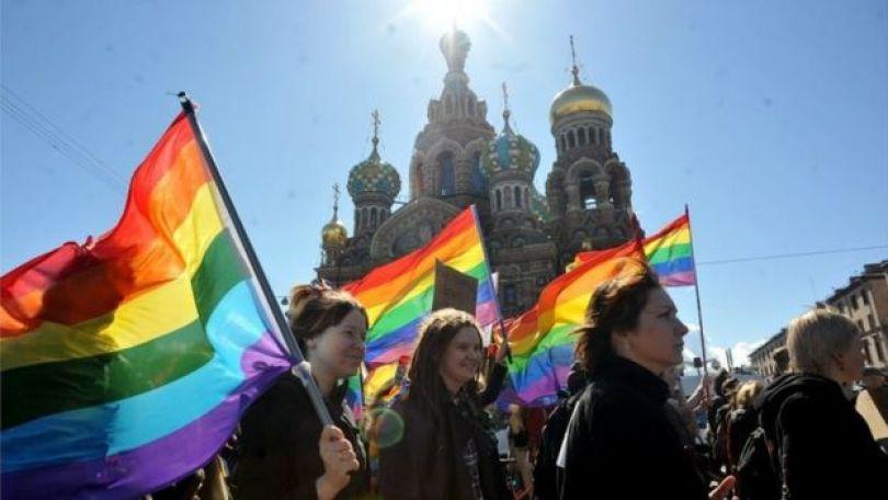 Manifestantes em Moscou
