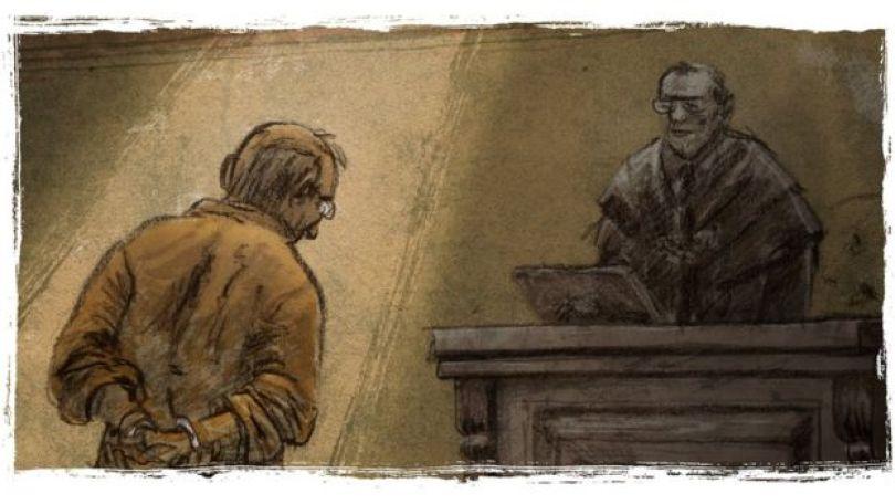 Ilustração representa julgamento do fotógrafo condenado por estuprar criança em Santa Catarina