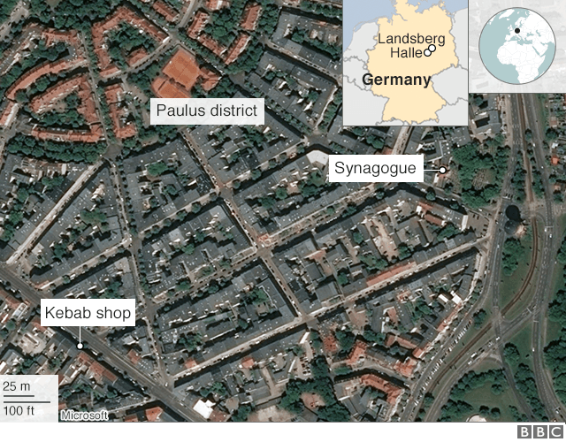 Map of where shootings were reported in Halle