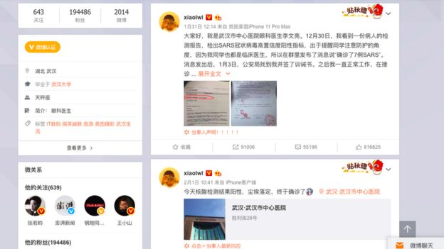 Dr Li's post on Weibo