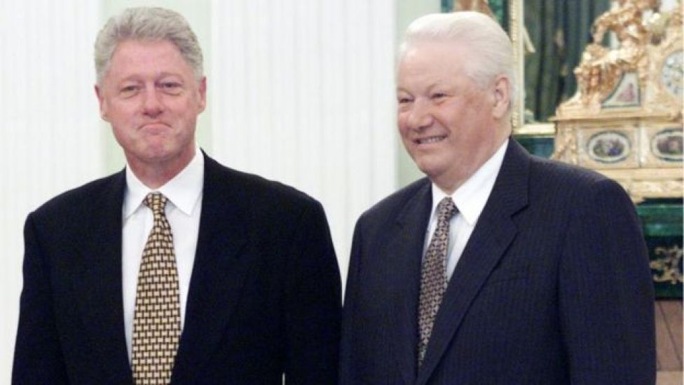 Bill Clinton y Boris Yeltsin