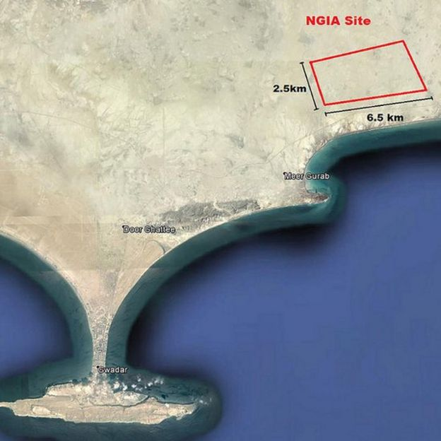 Location of the New Gwadar Airport on the map in the North East of the airport around 26 km from current airport.