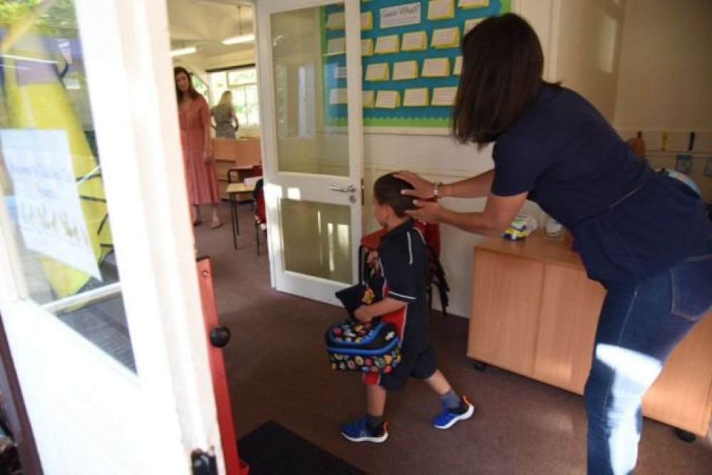 Child returns to his classroom in June