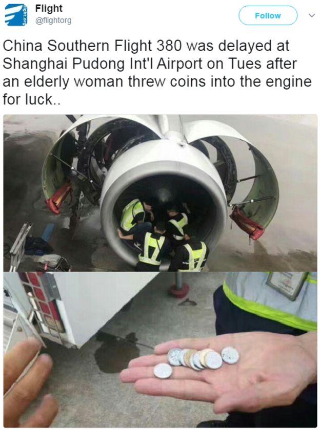 中国南方航空便のコインのエンジンをチェックしている警備員を示すツイート