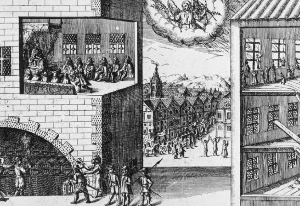 En esta ilustración holandesa de la época, el cielo guía a las autoridades a arrestar al conspirador Guy Fawkes cuando intentaba detonar 36 barriles de pólvora bajo la Cámara de los Lores durante la apertura del parlamento.