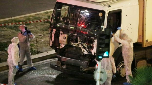 Authorities investigate the lorry in Nice, France