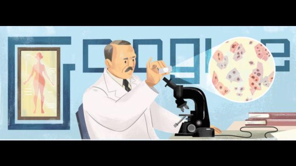 Georgios Papanicolaou en el doodle de Google.