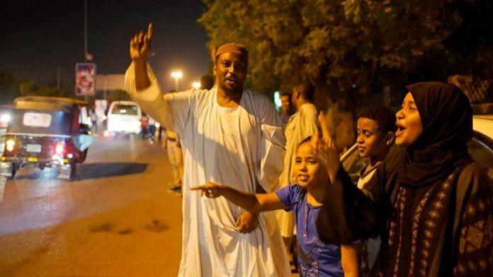 Protesters in Khartoum, 12 April