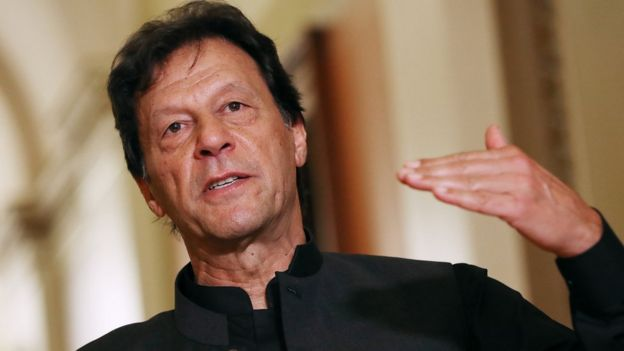 Pakistani PM Imran Khan gives a speech in July 2019