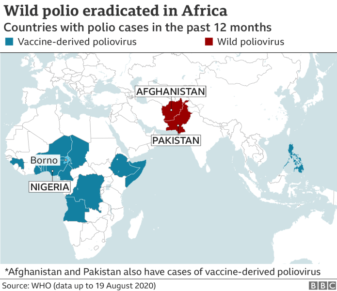 Countries with Polio cases.