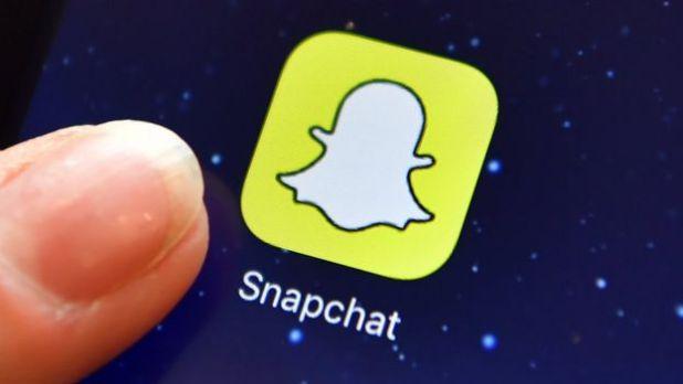 Un ícono de Snapchat en un móvil