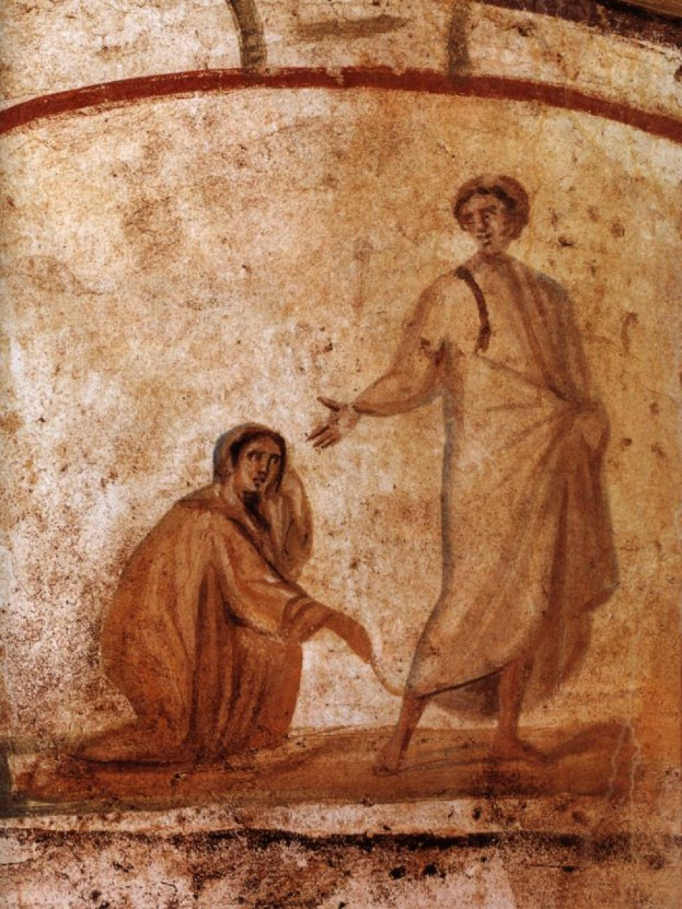 Jesus and woman touching his mantle