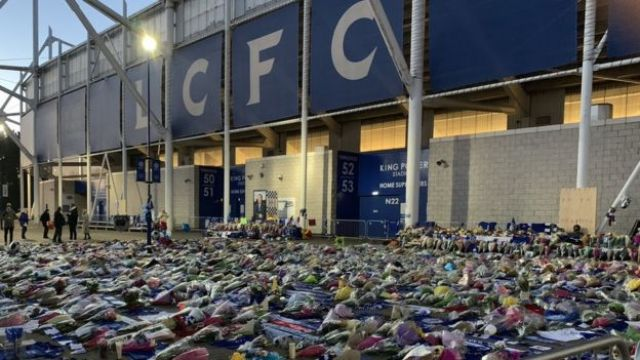 Tributes outside stadium on Monday morning