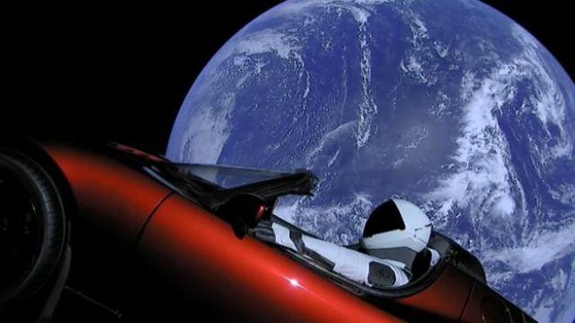 The Tesla Roadster in earth orbit, before it headed towards Mars