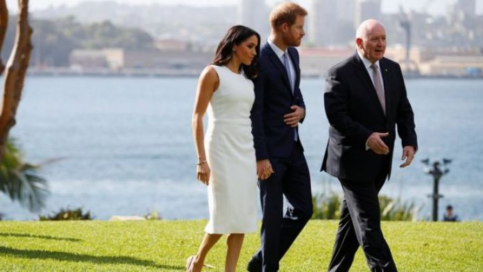 Prince Harry, Sir Peter Cosgrove and Meghan, the Duchess of Sussex